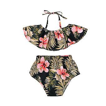 2 unids tops bebé niña chaleco top con pantalones cortos florales traje de pantalón