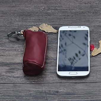 Men Key Bag Genuine Cow Leather Buckets Key Cases Pouch/ Zipper Keychain