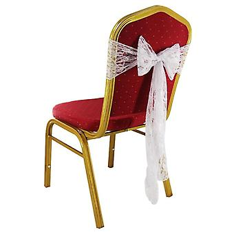 White Lace Chair Decorations, Chair Sash Bows For Wedding Birthday Party Decor