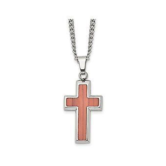 Mens Stainless Steel Polished Wood Inlay Cross Pendant Necklace with Chain