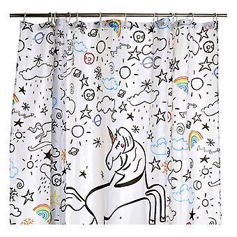 Cortina de ducha DKD Home Decor Unicorn Polyester (180 x 200 cm)