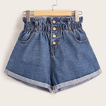 Plus Button Front manschetten Hem Denim Shorts