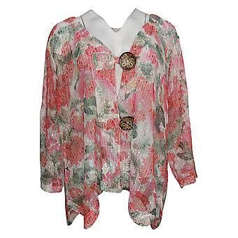 Nina Leonard Women's Sweater Plus Coconut Button Bolero Red 691446