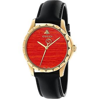 Gucci Ya126464 G-timeless Coral Red Dial Lederen Band Men's Horloge