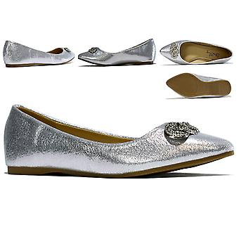 Josephine Pointed Flats Silver