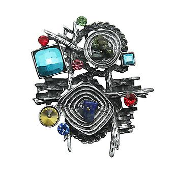 Retro Corsage Geometry Girls Brooch Half Gems Inlaid Brooch Pin