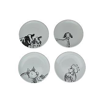 Satz von 4 Land weiß Barnyard Tier Skizze Design Keramik Platten 6,5 Zoll Durchmesser