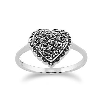 Gemondo 925 Sterling Silver 0.21ct Marcasite Heart Shaped Ring