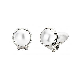 Traveller Pearl Clip Earrings  10mm White  Rhodium Plated - 113365 - 371