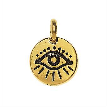 TierraCast Zinn charm, Rundes Evil Eye Symbol 16,5x11,5mm, 1 Stück, antik vergoldet