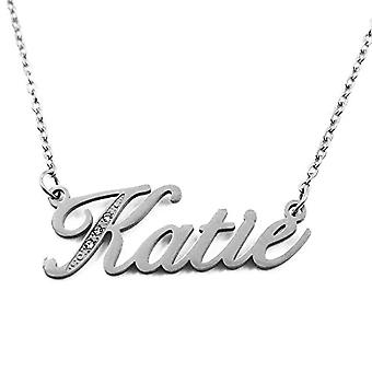 Katie - Necklace with personalized name, in silver tonalit, with delicate name, jewel for woman, girlfriend, mom, sister