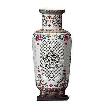 中国のアンティーク手作り製の中空の陶磁器のファミーユは、家の装飾のための花瓶