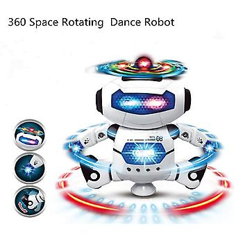 New 360 Space Rotating Electronic Walking Funny Toys for Kids Children Birthday Gift|RC Robot(White)