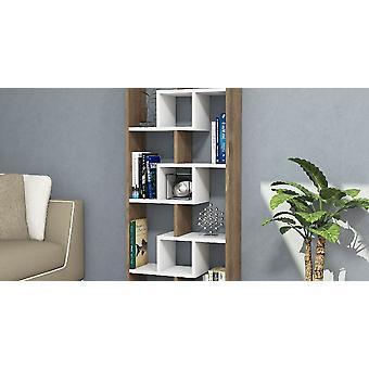 Bibliothek Luther Farbe Walnuss, Weiß, aus MelaminSchnitzel L60xP22xA140,4 cm