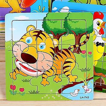 1-3 세 어린이 동물 퍼즐 장난감 나무 5pcs 만화 퍼즐