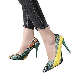 New Combination Color Snakeskin Pattern Super High-heeled Shoes