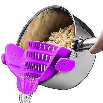 Purple universal silicone clip-on pot strainer colanders cai891