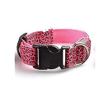 Xs 28-38cm pink leopard førte justerbar, nat sikkerhed nylon lysende kæledyr hund krave az3737
