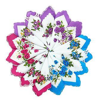خمر نمط الزهور القطن رباعية الأزهار وشاح منديل