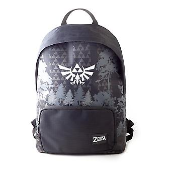 Nintendo - Hyrule Royal Crest With Forest Print Unisex Backpack - Black
