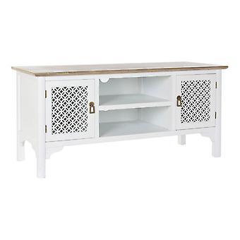 TV meubelen DKD Home Decor Wit Spar Lichtbruin (120 x 45 x 57 cm)