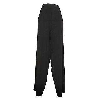 Denim &co. kvinners bukser høy strand pull-on bredbenet svart A376431