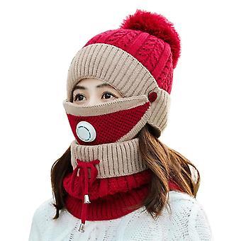 Zestaw maski na szalik zimowy z zaworem oddechowym zagęszczona czapka z dzianiny (Wine Red)