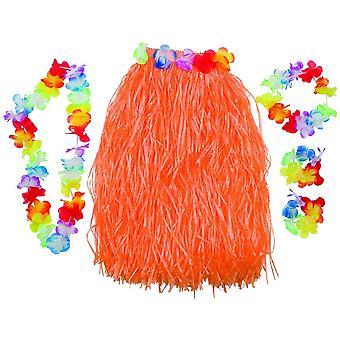 Hawaii Sæt 5 stk. lange orange blomsterbånd blomsterkæde Bastrock Hulakostüm