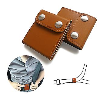 2 pezzi auto cintura di sicurezza regolabile collo cinghia bloccante clip protector (marrone)