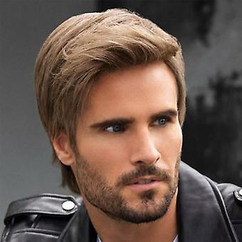 Mens bruin korte rechte pruiken natuurlijke full hair cosplay partij pruik dagelijkse pruiken