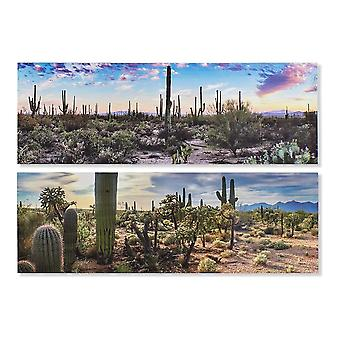 Painting DKD Home Decor Cactus Boho 90 x 1.8 x 30 cm (2 pcs)
