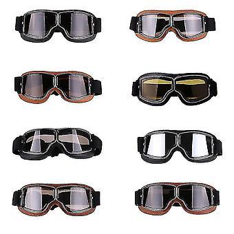 Retro-Stil Harley Motorrad winddichte Brille, für Outdoor-Fahren im Gelände (Braun + transparent)