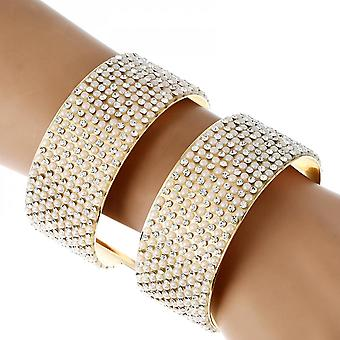 Inseparable Rhinestone And Pearl With Metal Double-layer Bangles