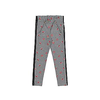 Alouette Girls' Trousers With Floral Pattern And Leather Details
