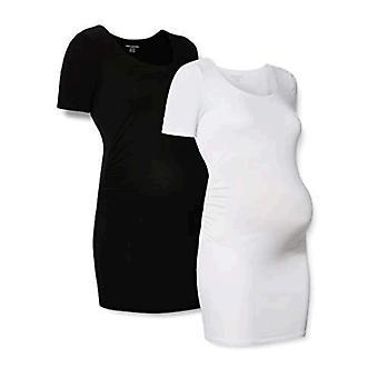 Essentials Dames Moederschap 2-Pack Short-Sleeve Rouched Scoopneck T-Shirt