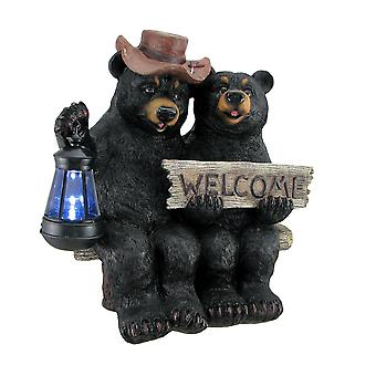 So Happy Together Black Bear Couple Solar Welcome Statue