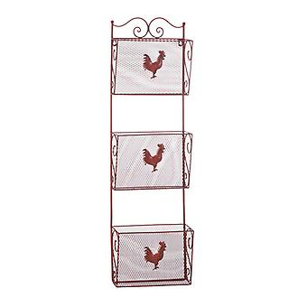 Accent Plus Red Rooster Triple Basket Metal Kitchen Organizer, Pack of 1