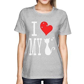 Lindo declaración gráfica camiseta hombres - amo mi gato gris Tee gráfico
