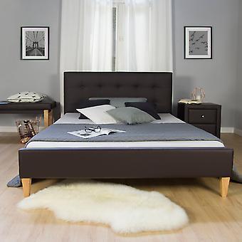 Bettgestell - Plattform - Betten - Modernes Braunholz 212 cm x 145 cm x 96 cm