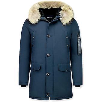 Parka Coat - With Fur Collar - Blue