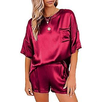 Laza és kényelmes kétrészes szatén pizsama-piros