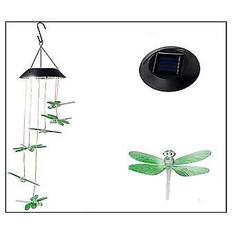ميل أدى اليعسوب الشمسي الرياح تتناغم، موبايل شنقا الرياح تتناغم لتزيين الحديقة المنزلية، ضوء التلقائي تغيير اللون، اليعسوب الأخضر