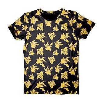 Pokemon aikuinen mies Pikachu koko Tulosta t-paita pieni musta (TS120308POK-S)