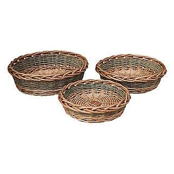 Set of 3 Unpeeled Willow Round Tray