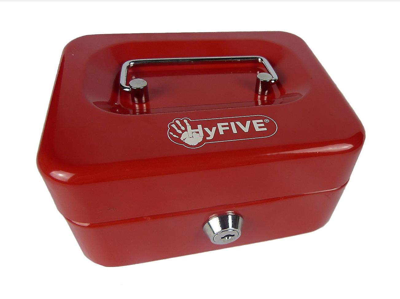 Hyfive® Steel Security Petty Cash Box with Keys & Tray in Red, 6