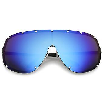 Futurystyczny Oversize bez oprawek w kolorze odzwierciedlenie Mono osłony przeciwsłoneczne okulary 75mm