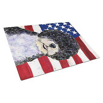 USA amerikanske Flag med portugisiske vand hund glas skærebræt stor