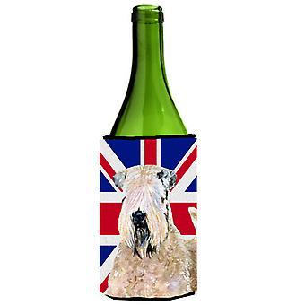 Wheaten Terrier suave cubierto con Bev de botella de vino bandera británica Union Jack inglesa