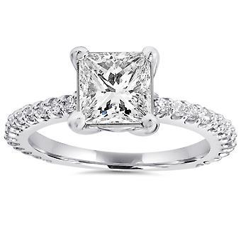 Princess Cut Diamond 1 1/3 ct Engagement Ring 14k White Gold