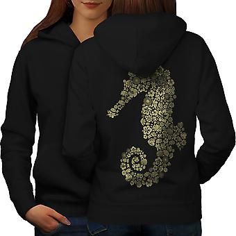 Seahorse Flowers Animal Women BlackHoodie Back | Wellcoda